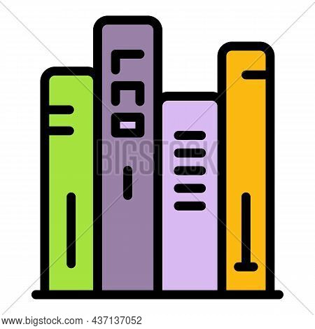 Book Stack Icon. Outline Book Stack Vector Icon Color Flat Isolated