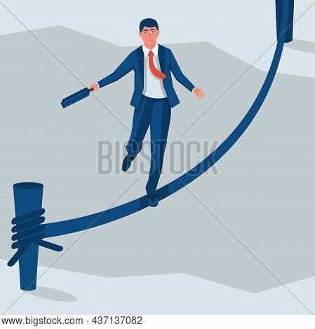 Business Risk Rope. Businessman Walking On Tightrope Gap In Rocks. Way To Success. Obstacle On Road.