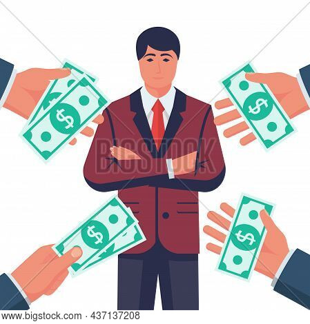 Popular Specialist. Many Suggestions. People Keep Money In Hands. Businessman Professional. High Ski