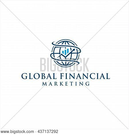 Global Economy Chart Arrow For Financial Company