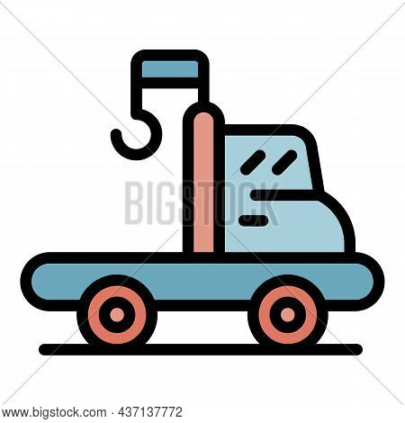 Tow Truck Assistance Icon. Outline Tow Truck Assistance Vector Icon Color Flat Isolated