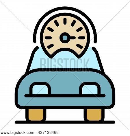 Speed Car Icon. Outline Speed Car Vector Icon Color Flat Isolated