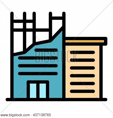 Destroyed Building Icon. Outline Destroyed Building Vector Icon Color Flat Isolated