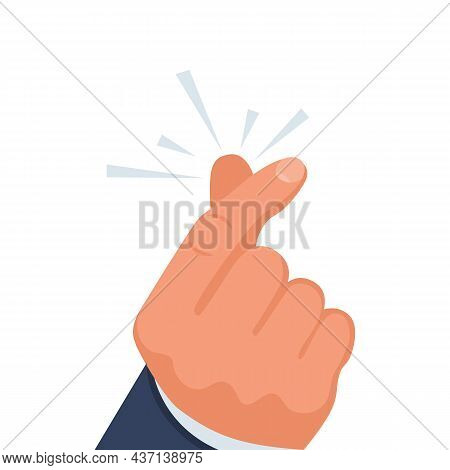 Snapping Fingers. Clicking Fingers. Magic Gesture. Template For The Print And Web. Vector Illustrati