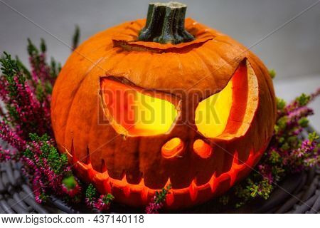 Scary Halloween pumpkins as decoration in the heathers pot
