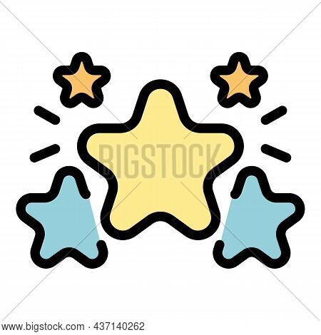 Five Star Rating Icon. Outline Five Star Rating Vector Icon Color Flat Isolated