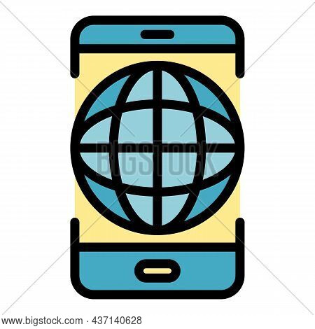 Global Smartphone Strategy Icon. Outline Global Smartphone Strategy Vector Icon Color Flat Isolated