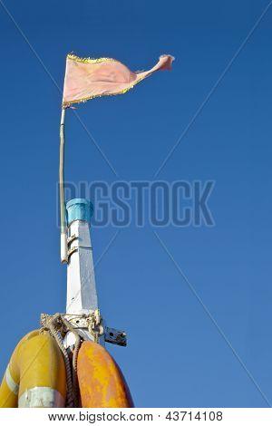 Mast Life Bouys Pink Frayed Flag