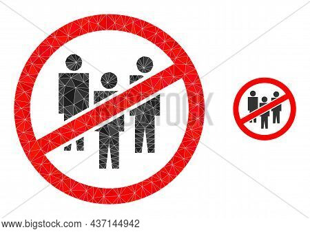 Lowpoly No People Crowd Icon On A White Background. Flat Geometric Lowpoly Illustration Based On No