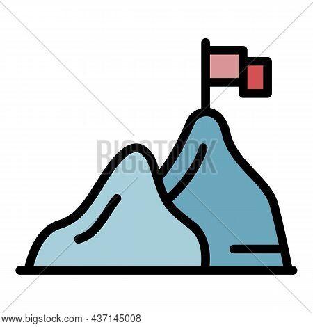 Mountain Goal Achievement Icon. Outline Mountain Goal Achievement Vector Icon Color Flat Isolated
