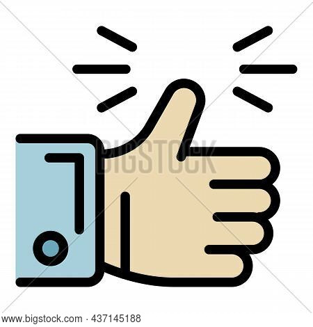 Goal Thumb Up Icon. Outline Goal Thumb Up Vector Icon Color Flat Isolated