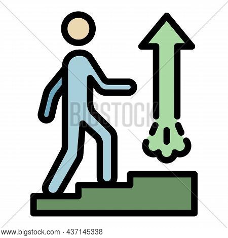 Goal Up Stairs Icon. Outline Goal Up Stairs Vector Icon Color Flat Isolated