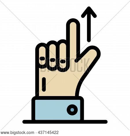 Goal Up Finger Icon. Outline Goal Up Finger Vector Icon Color Flat Isolated