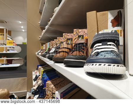 Hoogstraten,belgium - October 2 2021: A Portrait Of Toddler Shoes Standing In A Row On A Shelf In A