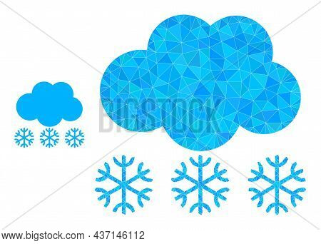 Lowpoly Snow Cloud Icon On A White Background. Flat Geometric Polygonal Illustration Based On Snow C