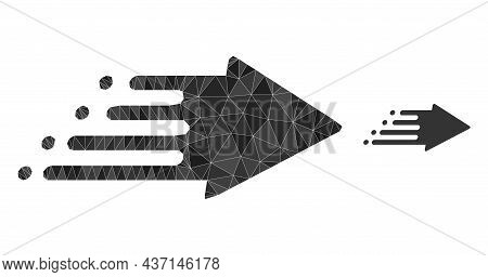 Lowpoly Speed Process Icon On A White Background. Flat Geometric Polygonal Illustration Based On Spe