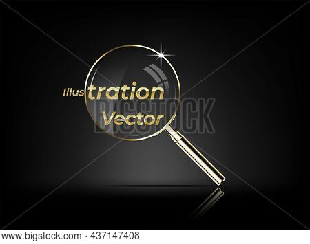 Realistic Golden Magnifying Glass Isolated On Black Background - Realistic Golden Magnifying Glass.