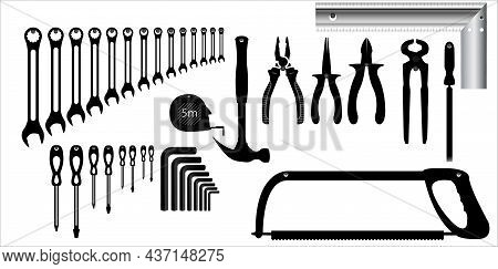 Workbench With Tools Icon Set, Workbench With Tools Vector - Hammer, Screwdriver, Allen Wrench, Hand