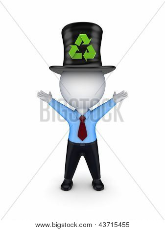 3d small person in top-hat with recycle symbol.