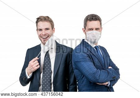 Businessmen Wear Mask To Avoid Contact While Covid19 Coronavirus Pandemic, Social Distancing.