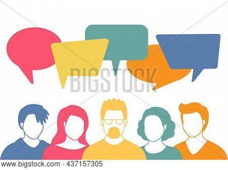 People Avatars With Speech Bubbles. Men And Woman Communication, Talking Llustration. Coworkers, Tea