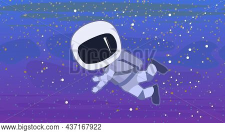 Astronaut In Spacesuits. Cosmos Background. Childrens Illustration. Starry Sky Landscape. Dark Color