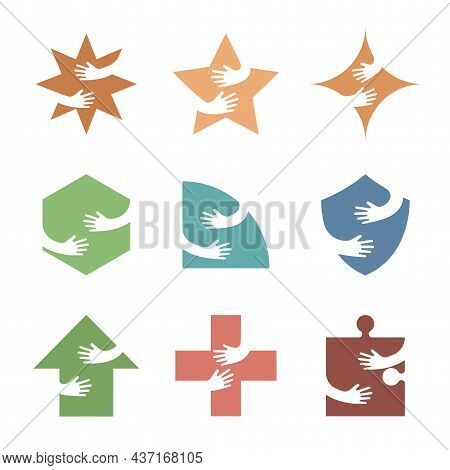 Arms Holding Or Embracing Different Colorful Geometric Figures Vector Flat Illustration. Emblems Wit