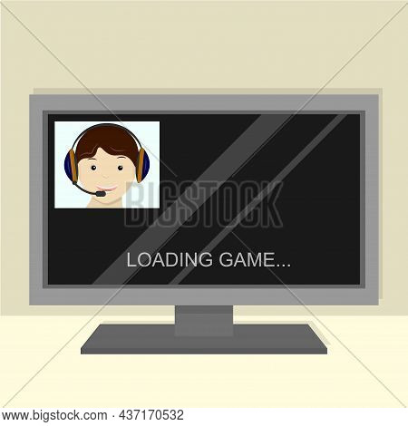 Streamer, Playing Video Games Online With Headset. Pro Gamer. On The Broadcast Screen Loading The Ga