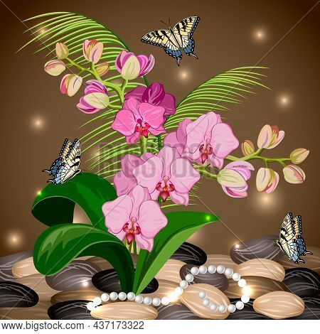 Illustration With Butterflies And Orchids.orchids, Butterflies And Pearls On A Colored Background Ba