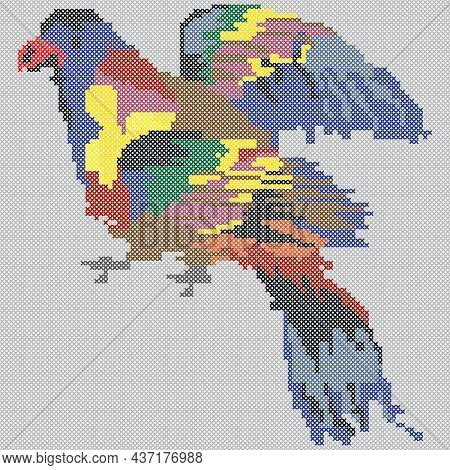 Embroidered Parrot, Cross Stitch Pattern Of Exotix Bird, Vector Isolated Illustration