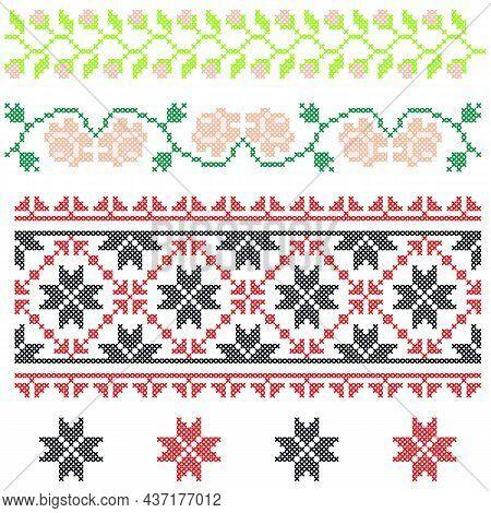 Cross Stitch Embroidery, National Ukrainian Pattern, Ornament, Vector.