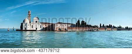 Church Of San Michele Island Next To Venice City In Northern Italy. Cemetery In Venice. Church Of Sa