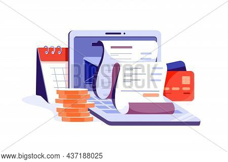 Online Digital Invoice With Bills On Laptop Vector Illustration. Report About Vat, Payroll And Paid