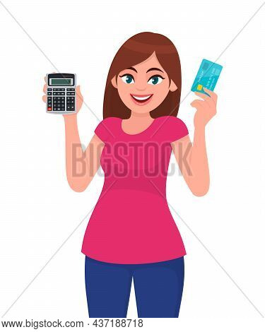 Young Woman Showing Calculator. Trendy Girl Holding Credit, Debit Or Atm Card. Female Character Pres
