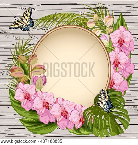 Frame With Orchids And Butterflies.elegant Frame For Text With Decor From Orchids And Butterflies In