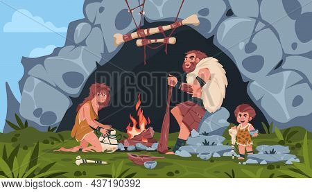 Ancient People Scene. Cartoon Background With Prehistoric Stone Age Family. Wooden Hut And Cave. Roc