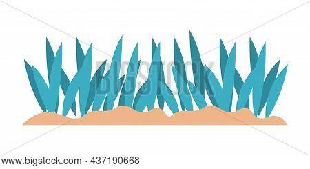 Cartoon Green Grass And Sea Plant. Aquarium Decoration Template. Underwater Botanical Elements. Seaw