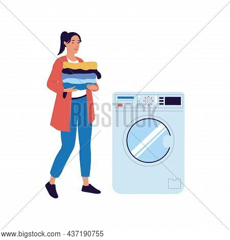 Woman Carries Things To Washing Machine. Female Holding Clean Garment Stack. Laundry Equipment. Hous