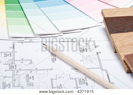 Abstract background from color guide samples of materials and the house plan poster