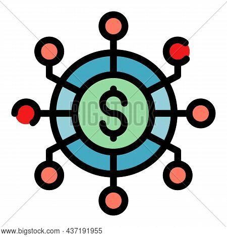 Crowdfunding Scheme Icon. Outline Crowdfunding Scheme Vector Icon Color Flat Isolated