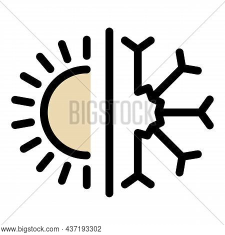 Sun And Snowflake Icon. Outline Sun And Snowflake Vector Icon Color Flat Isolated