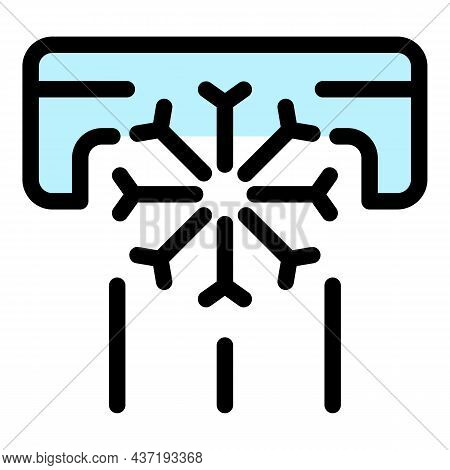 Air Conditioning And Snowflake Icon. Outline Air Conditioning And Snowflake Vector Icon Color Flat I