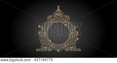 Antique Gold Frame With Crown Lines Model. Ellipse Frame Element With Color Gold Isolated Background