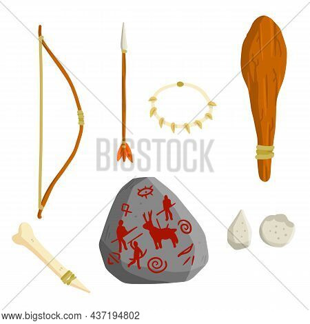 Set Of Stone Age Man. Caveman Weapons For Hunting And Life. Prehistoric Set Of A Wild Tribe