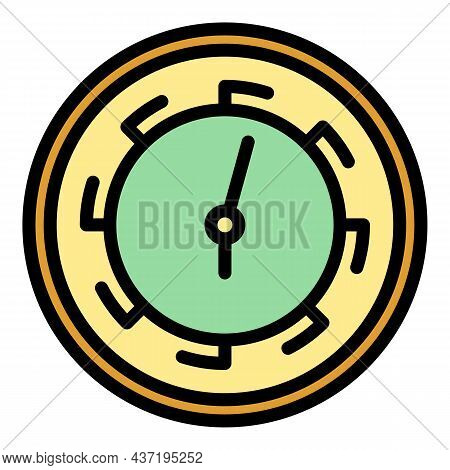 Parts Wall Clock Icon. Outline Parts Wall Clock Vector Icon Color Flat Isolated