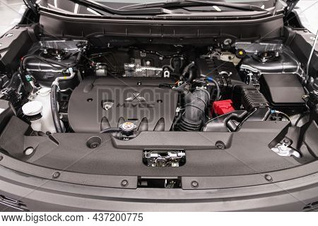 Novosibirsk, Russia - August  31, 2021: Mitsubishi Eclipse, Under The Hood Of Car. Powerful Engine C