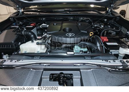 Novosibirsk, Russia - September 12, 2021: Toyota Fortuner, Under The Hood Of Car. Powerful Engine Cl