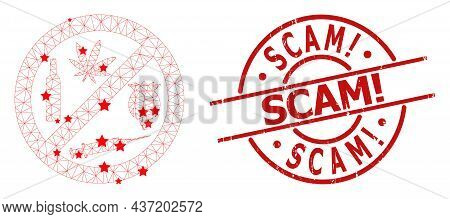Forbid Addiction Drugs Star Mesh Net And Grunge Scam Warning Seal Stamp. Red Seal With Unclean Surfa