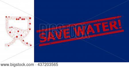 Mesh Liquid Tank Polygonal Symbol Vector Illustration, And Red Save Water Exclamation Unclean Stamp