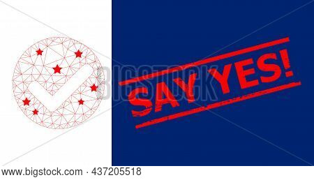 Mesh Yes Mark Polygonal Icon Vector Illustration, And Red Say Yes Exclamation Rubber Print. Abstract